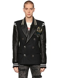 Faith Connexion Double Breasted Wool And Leather Jacket