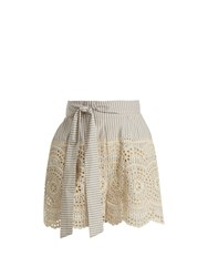 Zimmermann Meridian Striped Broderie Anglaise Shorts Blue Stripe