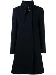 Chloe Belted Stand Up Collar Coat Blue