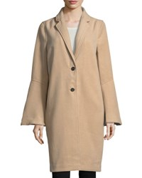 Magaschoni Bell Sleeve Two Button Topper Coat Camel