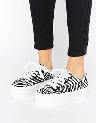 Sixty Seven Sixtyseven Flatform Laceup Trainer 025231 Zebra White