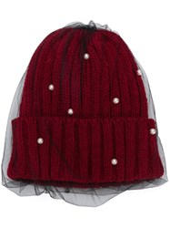 Ca4la Mesh Embellished Beanie Hat Red