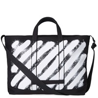 Off White Diagonals Spray Tote Black