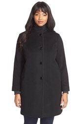 Plus Size Women's Fleurette Piped Wool And Cashmere Stand Collar Coat