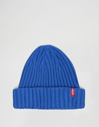 Levi's Ribbed Beanie In Blue Blue