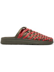 Missoni Green And Red Malibu Woven Sandals