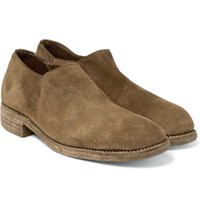 Guidi Stag Distressed Suede Shoes Tan