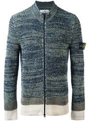 Stone Island Ribbed Zip Cardigan Blue