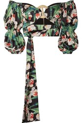 Patbo Cropped Off The Shoulder Floral Print Satin Top Green