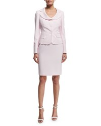 Albert Nipon Seersucker Jacket And Dress Set Pink Blush White Women's