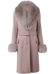 Elie Saab Trimmed Collar And Cuffs Belted Coat