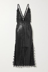 Christopher Kane Lace Trimmed Chainmail Midi Dress Black