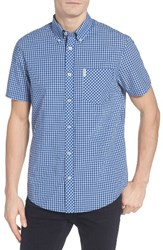 Ben Sherman Men's Core Mod Fit Gingham Shirt Sky Blue