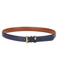Lauren Ralph Lauren Pebbled Leather Belt Blue