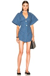 Jacquemus Short Sleeve Dress In Checkered And Plaid Blue Checkered And Plaid Blue