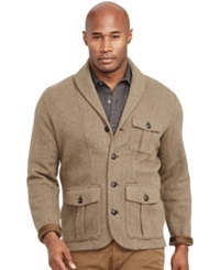 Polo Ralph Lauren Jacquard Shawl Cardigan Sweater Olive Herringbone
