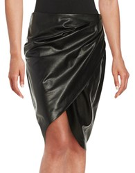 Bailey 44 Wrap Faux Leather Skirt Black