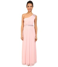 Alejandra Sky Sheer Matte One Shoulder Dress Baby Pink Women's Dress