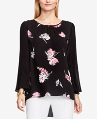 Vince Camuto Three Quarter Sleeve Printed Blouse Rich Black