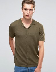 Asos Revere Collar Short Sleeve Cardigan In Merino Wool Mix Military Green