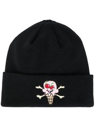 Palm Angels Ice Cream Embroidered Patch Beanie Black