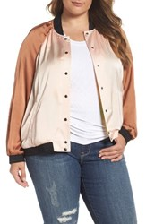 Melissa Mccarthy Seven7 Plus Size Women's Reversible Embroidered Bomber Jacket Pale Blush Pecan Brown