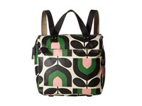 Orla Kiely Matt Laminated Stripe Tulip Print Small Backpack Spring Backpack Bags Green