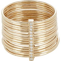 Feathered Soul Women's Diamond And Gold Multi Band Ring No Color