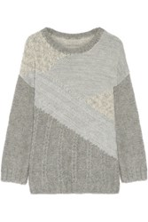 Current Elliott The Mixed Metallic Cable Knit Sweater Gray