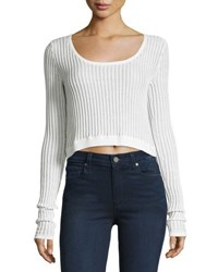 Cheap Monday Ribbed Long Sleeve Crop Top White