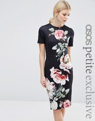 Asos Petite T Shirt Bodycon Dress With Photographic Floral Placement Print Black