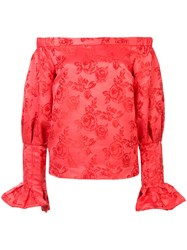 C Meo Collective Off The Shoulder Floral Blouse Red