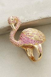 Anthropologie Flamingo Cocktail Ring Gold