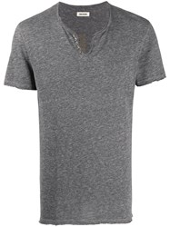 Zadig And Voltaire Henley Graphic Print T Shirt Grey