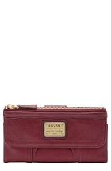 Women's Fossil 'Emory' Leather Clutch Wallet Red Maroon