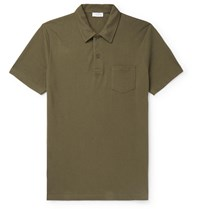 Sunspel Riviera Slim Fit Cotton Mesh Polo Shirt Green