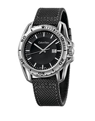 Calvin Klein Earth Stainless Steel And Textile Strap Watch Black