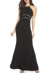 Sequin Hearts 'S Ruffle Back Halter Gown Black Nude