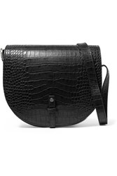 Iris And Ink Croc Effect Leather Shoulder Bag Black