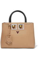Fendi 2Jours Petite Embellished Leather Shopper Beige