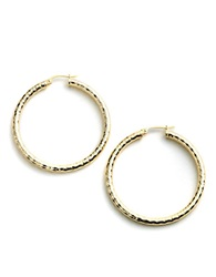 Lord And Taylor Sterling Silver Hammered Metal Hoop Earrings Gold