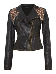 Label Lab Updated Embellished Leather Jacket Black