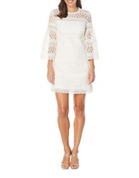 Laundry By Shelli Segal Venise Bell Sleeve Lace Dress Marshmallow