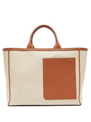Valextra Shopping Large Canvas And Leather Tote Bag Beige Multi