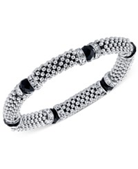 2028 Silver Tone Stone And Crystal Metallic Beaded Stretch Bracelet Silver Black