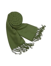 Forzieri Solid Pashmina And Silk Fringed Shawl Olive Green