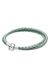 Pandora Design Leather Wrap Charm Bracelet Green