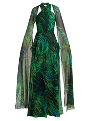 Elie Saab Twisted Neck Silk Georgette Gown Green Print