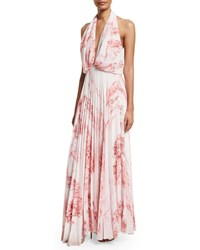 Camilla And Marc Sleeveless Halter Floral Print Maxi Dress Women's Light Pink Print