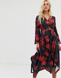 Zibi London Wrap Front Midi Dress With Hanky Hem Black Red Multi